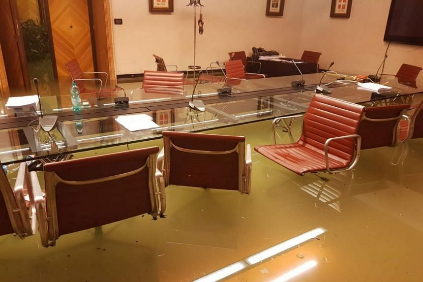 The interior of the Italian Regional Council is seen flooded in Venice, Italy on Nov 13, 2019.
