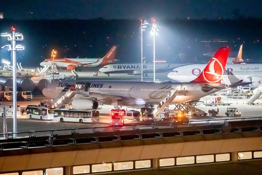 A Turkish Airlines flight is seen at Berlin's Tegel airport on Nov 14, 2019, with a family on board suspected of being involved with ISIS.