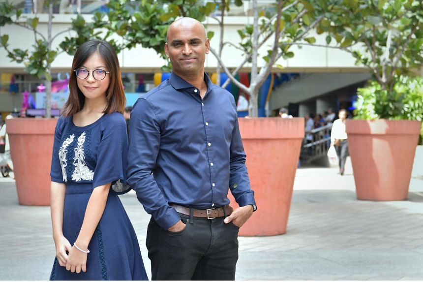 Care Corner Singapore volunteers Callie Ng and P. Ramesh.