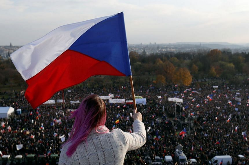 A woman waves the Czech flag as demonstrators attend an anti-government rally in Prague.