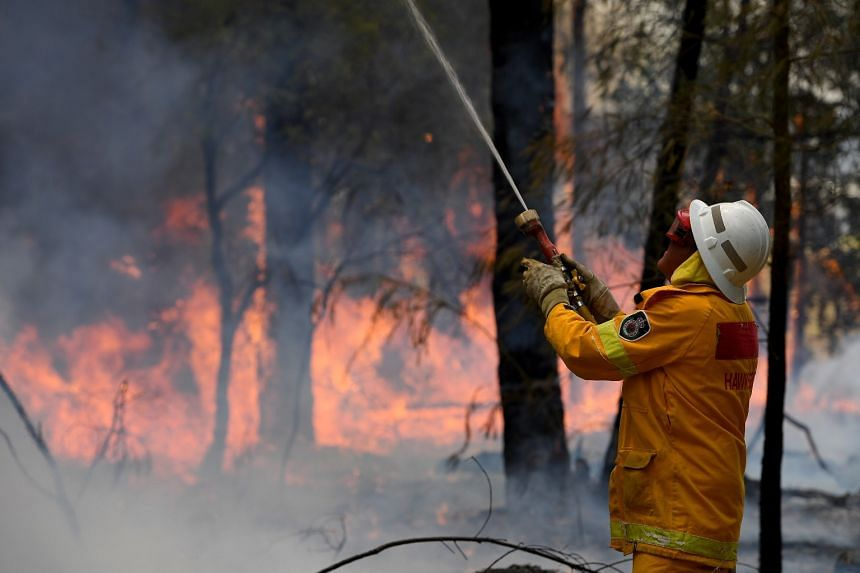 A New South Wales Rural Fire Service firefighter works to contain a bushfire that spread from the Gospers Mountain fire in New South Wales, Australia, on Nov 16, 2019.