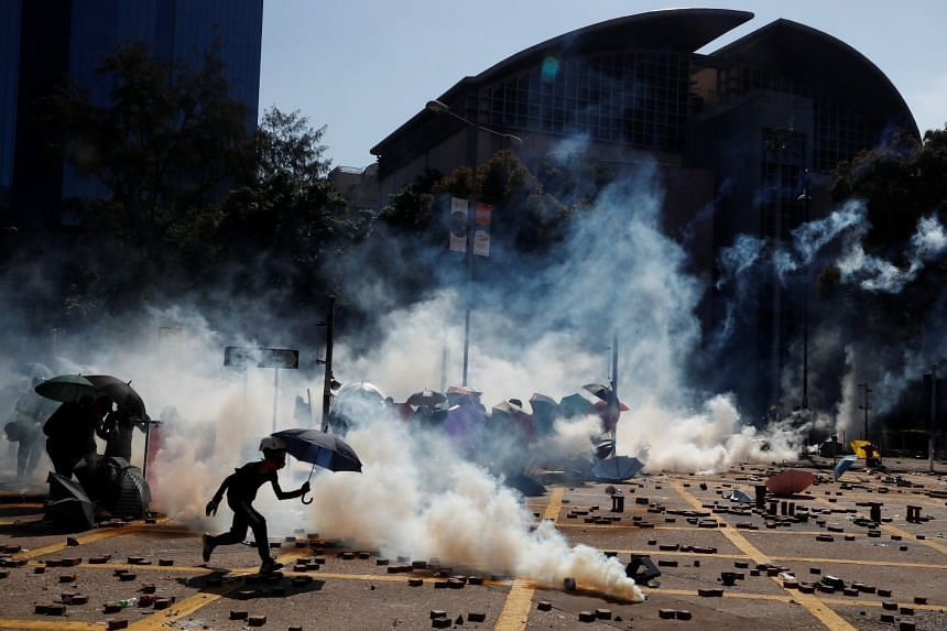 Protesters clash with police outside Hong Kong Polytechnic University in Hong Kong on Nov 17, 2019.