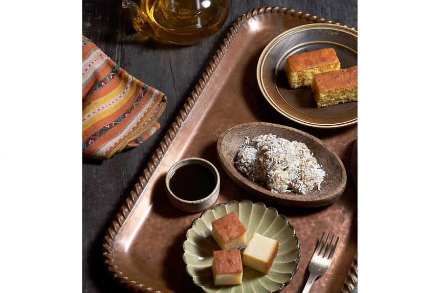 Dessert Sampler. (From top) sugee cake, kueh kosui and kueh bengkah.