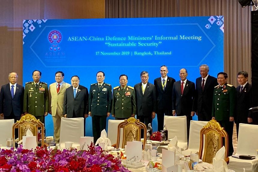 Singapore Defence Minister Ng Eng Hen (third from right) and other Asean defence ministers at the meeting with Chinese Defence Minister Wei Fenghe (fifth from left) in Bangkok on Nov 17, 2019.