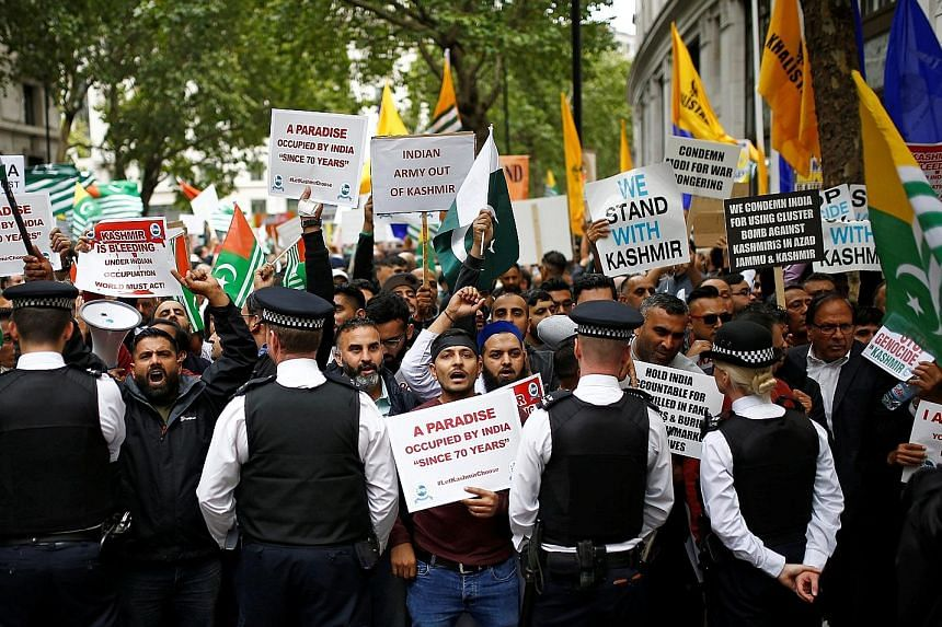 Protesters rallying against the removal of Jammu and Kashmir's special status outside the Indian High Commission in London, in August. The electoral involvement of a British-based group linked to India's ruling party has prompted concerns of foreign inter
