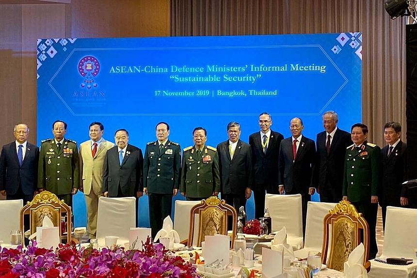 Singapore Defence Minister Ng Eng Hen (third from right) and his Asean defence counterparts at the meeting with Chinese Minister of National Defence Wei Fenghe (fifth from left) in Bangkok yesterday.