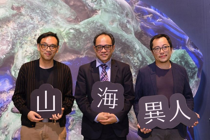 (From left) Singaporean artist Ho Tzu Nyen, director of National Taiwan Museum of Fine Arts Lin Chi-Ming and Taiwanese artist-curator Hsua Chia-Wei at the media launch of the Asian Art Biennial on Nov 1, 2019.