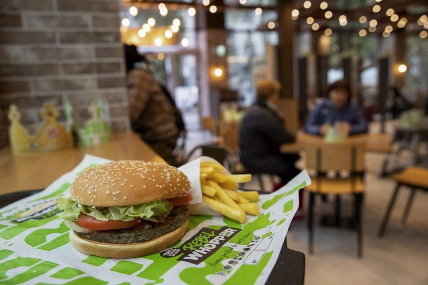 A meat-free burger at fast-food chain Burger King. The company is rolling out the plant-based Impossible Whopper in the US by the end of the year.