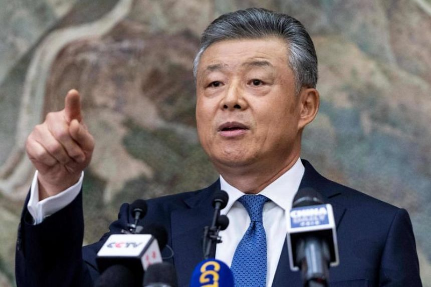 China's ambassador to London Liu Xiaoming called a news conference at the Chinese Embassy to comment on events in Hong Kong on Nov 18, 2019.