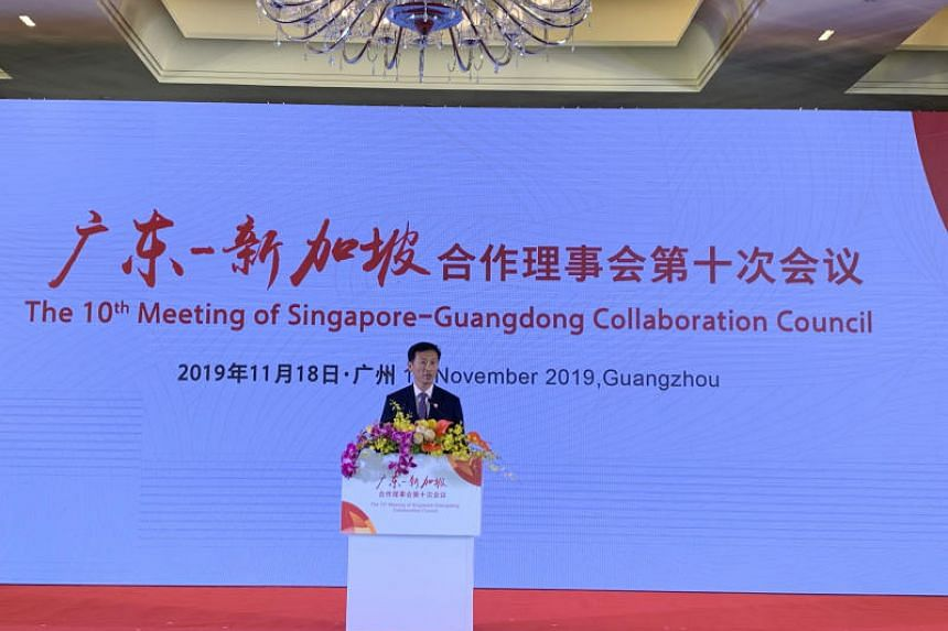 Education Minister Ong Ye Kung speaking at the Singapore-Guangdong Collaboration Council meeting in Guangzhou on Nov 18, 2019.