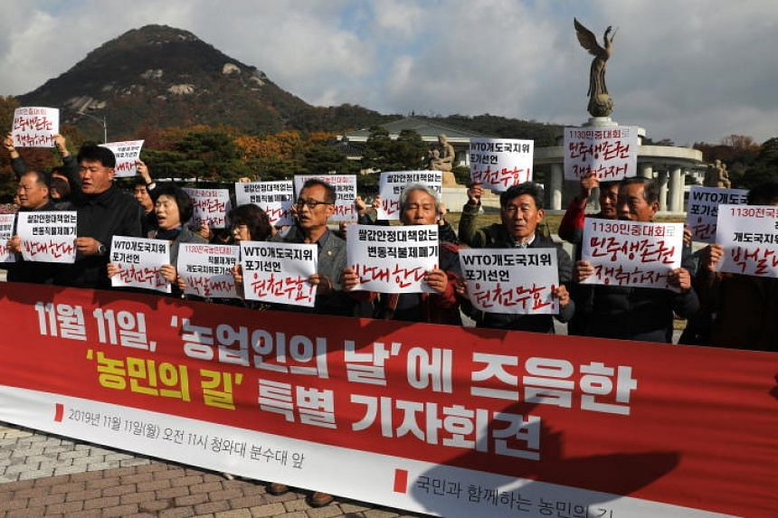In a photo from Nov 11, 2019, farmers hold a rally to protest the South Korean government's decision to give up the nation's 'developing country' status at the World Trade Organization in Seoul.