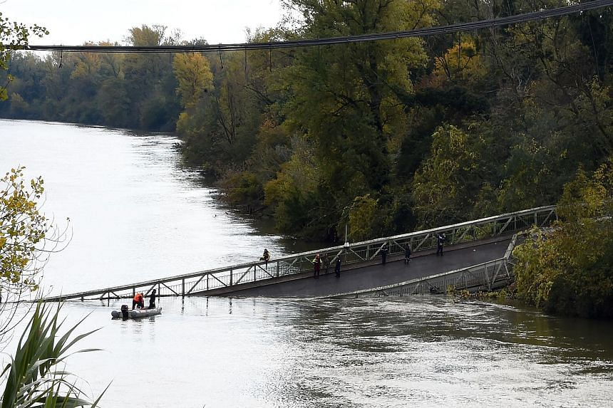 A 15-year-old girl was killed after a suspension bridge over the river Tarn in south-west France collapsed yesterday, causing a car, a truck and possibly a third vehicle to plunge into the water, the local authorities said. Four people were rescued b
