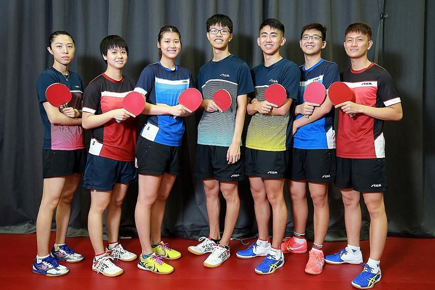 Above: Wong Xin Ru has steadily climbed the women's singles world rankings, from No. 741 to No. 185. Left: Singapore paddlers (from left) Yu Mengyu, Goi Rui Xuan, Wong Xin Ru, Josh Chua, Koen Pang, Ethan Poh and Clarence Chew. For the first time sinc
