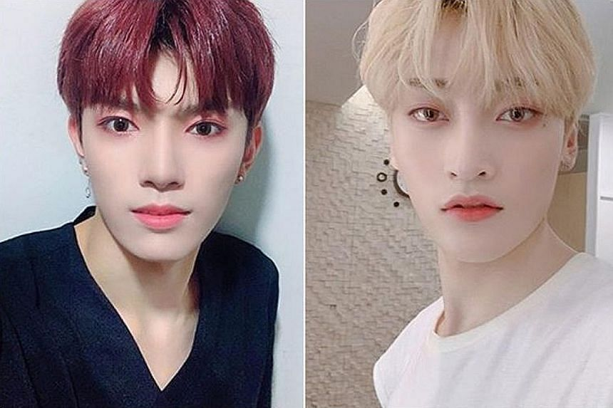 Two members of boy band TRCNG - Wooyeop (far left) and Taeseon - are suing TS Entertainment, saying they were physically abused by their agency's staff.