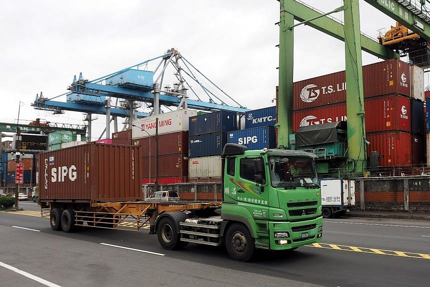 Containers at Keelung Harbour in Taiwan. Shipments to nine of Singapore's top 10 Nodx markets fell last month, with the exception of Taiwan. PHOTO: EPA-EFE