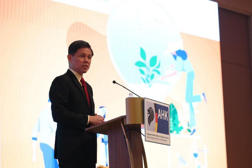 Trade and Industry Minister Chan Chun Sing speaking at an event marking the 15th anniversary of the Singapore German Chamber of Industry and Commerce on Nov 19, 2019.