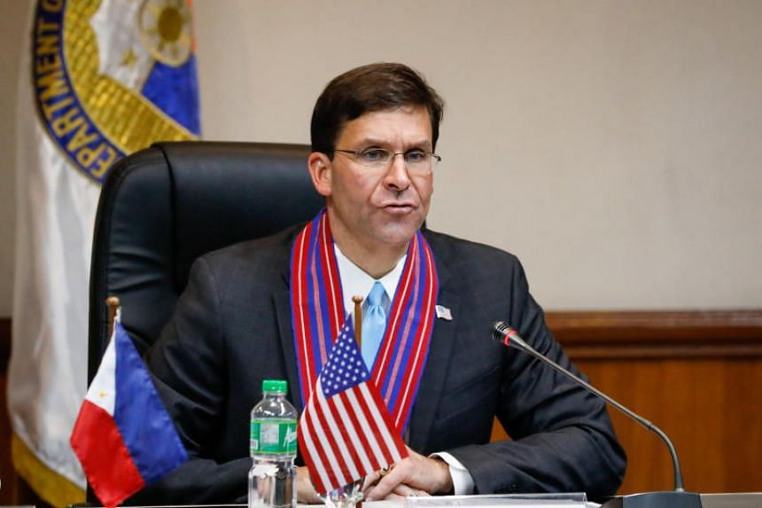 US Defense Secretary Mark Esper during a press conference at a military camp in Quezon City, the Philippines, on Nov 19, 2019.
