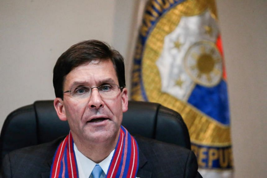 US Secretary of Defence Mark Esper speaks during a news conference in a military headquarters, in Quezon, Philippines, on Nov 19, 2019.