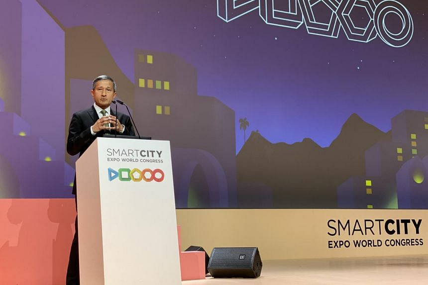 Minister-in-charge of Singapore's Smart Nation Initiative Vivian Balakrishnan speaking at the Smart City Expo World Congress 2019 in Barcelona.