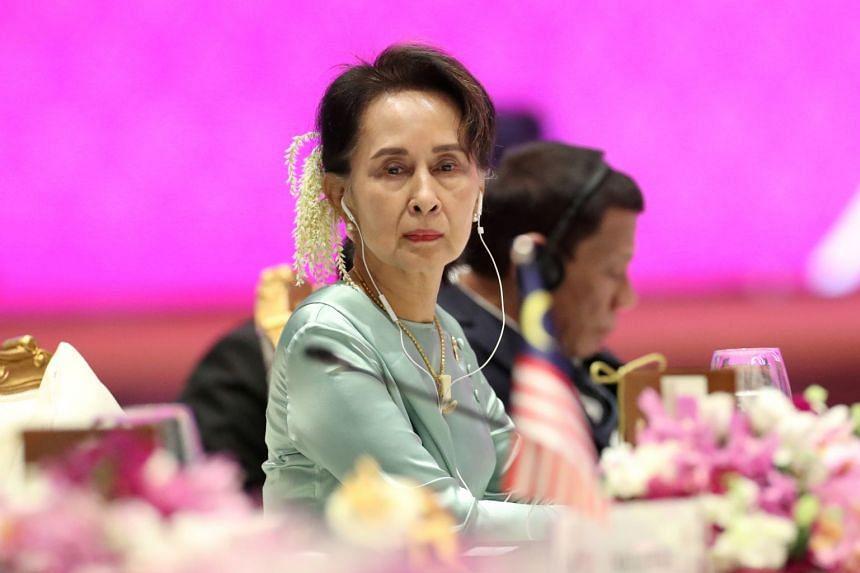 Ms Aung San Suu Kyi at the Asean summit in Bangkok on Nov 4, 2019.