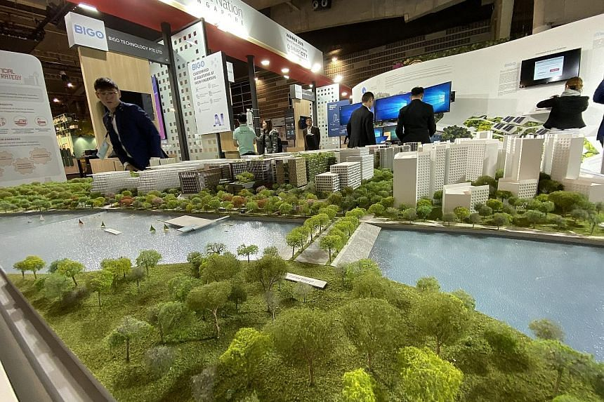 A model of the Punggol Digital District displayed at the Smart City Expo World Congress in Barcelona yesterday.