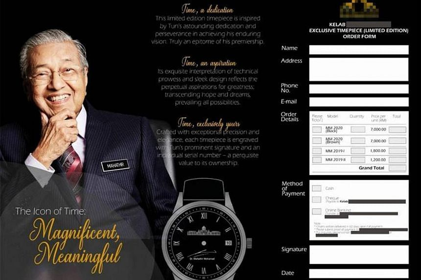 The brochure with an order form for luxury watches purportedly engraved with Malaysian Prime Minister Mahathir Mohamad's signature.