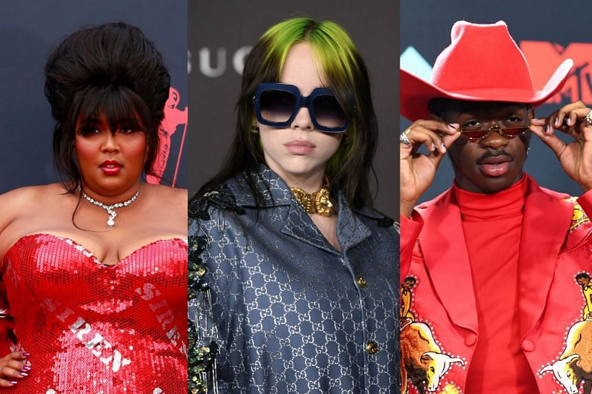 Lizzo (left) led the Grammy nominations with eight nods, followed by Billie Eilish (centre) and Lil Nas X with six each