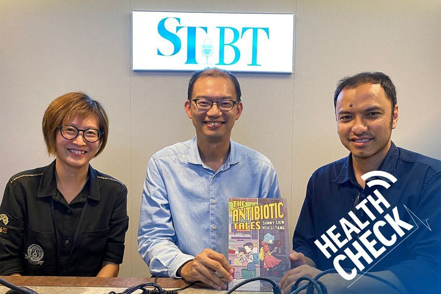 ST correspondent Joyce Teo (left) and podcast head Ernest Luis (right) host associate professor Hsu Li Yang (centre), head of the infectious diseases programme and the co-director of the Leadership Institute for Global Health Transformation at the NU