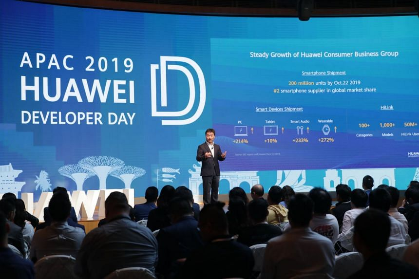 Mr Zhang Ping'an, president of Huawei Consumer Cloud Service addressing the attendees at its APAC Developer Day last Wednesday.