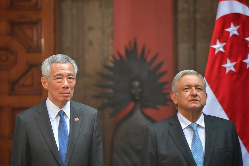 PM Lee Hsien Loong with Mexico's President Andres Manuel Lopez Obrador at the welcome ceremony at Patio de Honor, National Palace, on Nov 19, 2019.