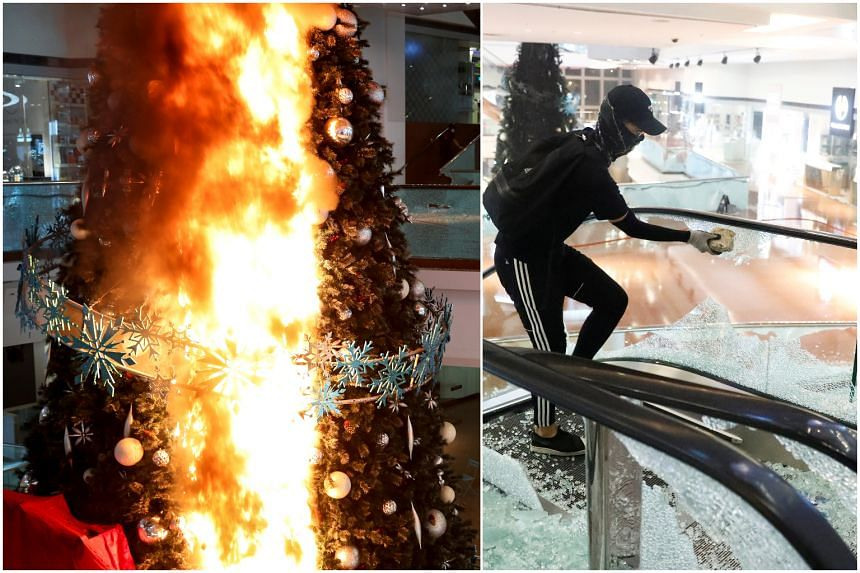 Anti-government protesters had set fire to the Christmas tree and caused other damage in Festival Walk mall in Hong Kong on Nov 13, 2019.