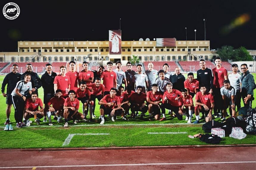 The team during final training at the Al Muharraq Stadium in Bahrain.