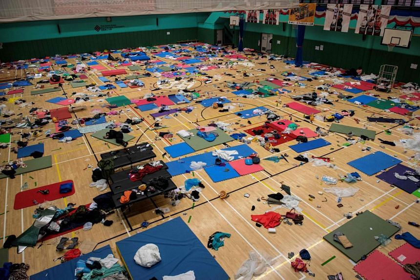 A gymnasium used by protesters as a dormitory is seen inside Hong Kong Polytechnic University in Hong Kong on Nov 20, 2019.