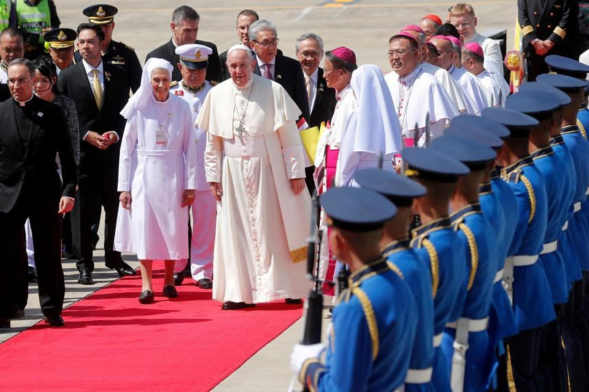 Pope Francis lands in Thailand
