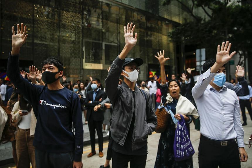 Anti-government protesters are seen in Hong Kong,  on Nov 19, 2019. US lawmakers have voiced strong support for the demonstrators.