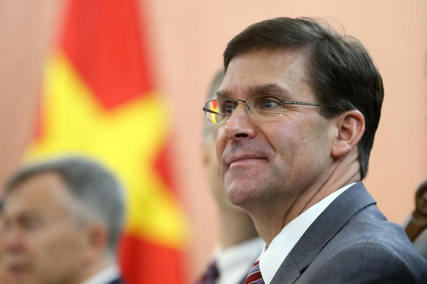 US Secretary of Defense Mark Esper speaks to Vietnam's Minister of National Defence Ngo Xuan Lich (not pictured) during a meeting in Hanoi on Nov 20, 2019.