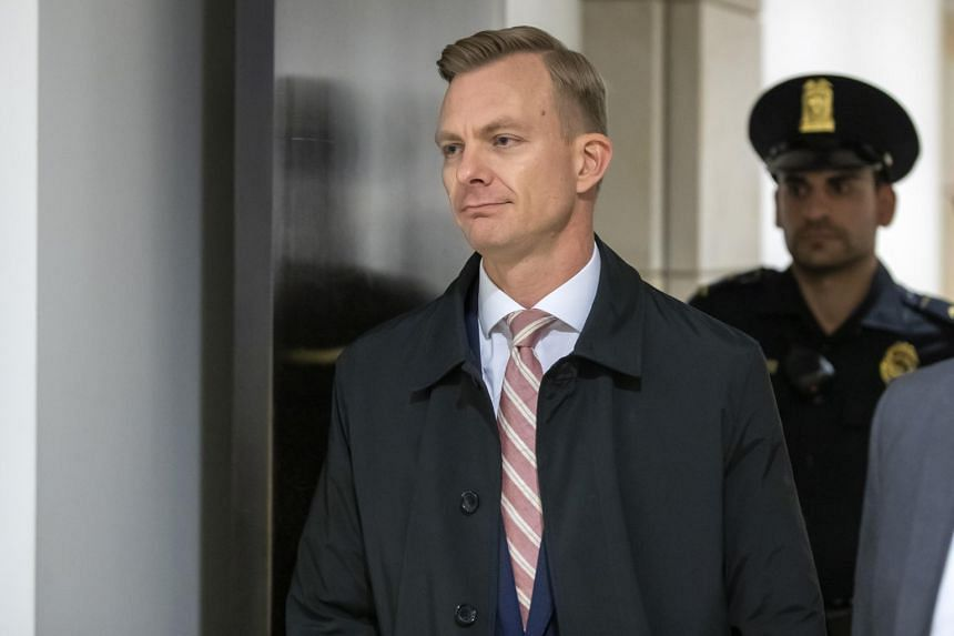 US State Department official David Holmes arrives for his closed-door testimony to the Democratic-led House Intelligence Committee on Nov 15, 2019.