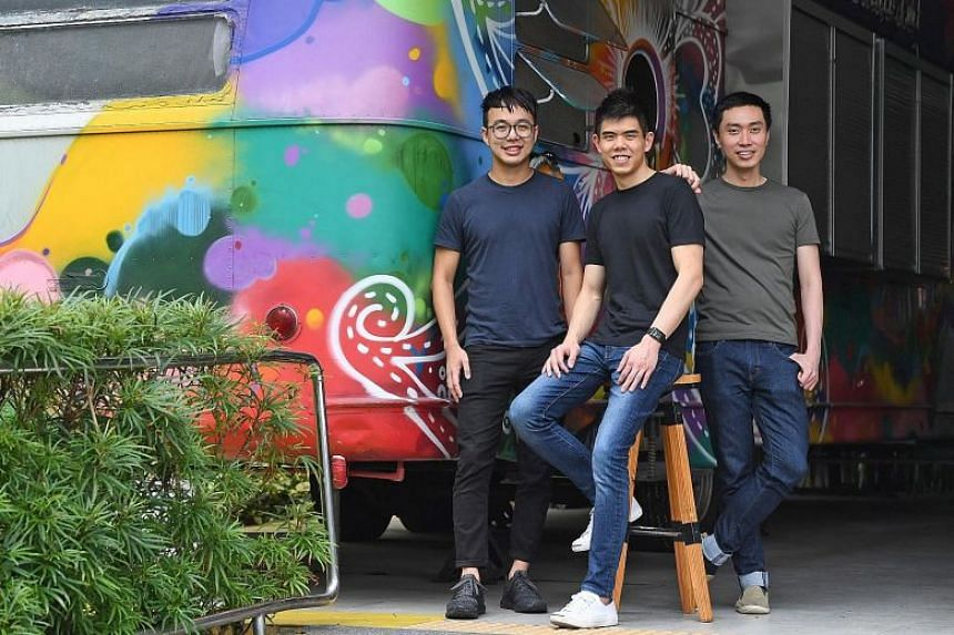Carousell co-founders (from left) Marcus Tan, Quek Siu Rui and Lucas Ngoo.