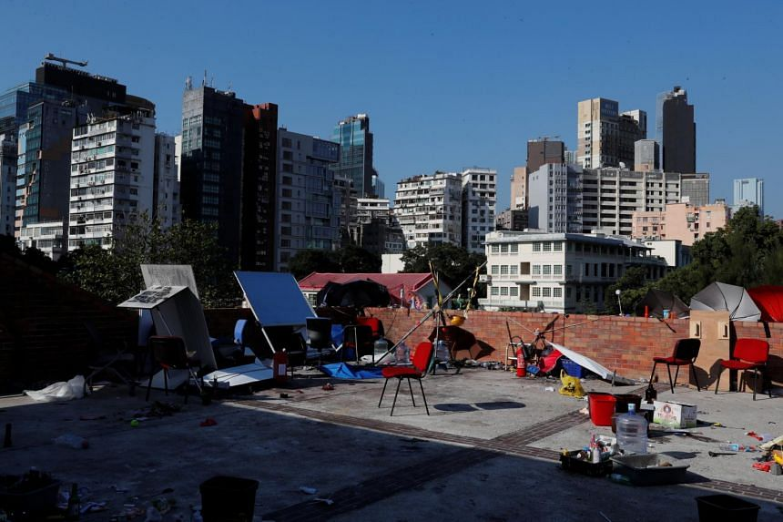 An area previously occupied by protesters in the Hong Kong Polytechnic University campus is seen on Nov 21, 2019.