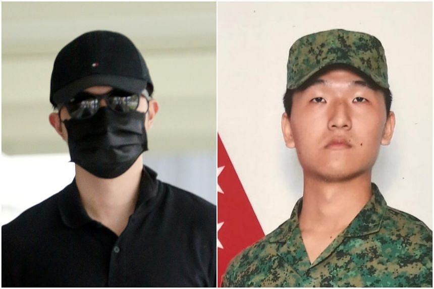 Ong Lin Jie (left) will be claiming trial after being charged with doing a rash act causing the death of NSF Liu Kai.
