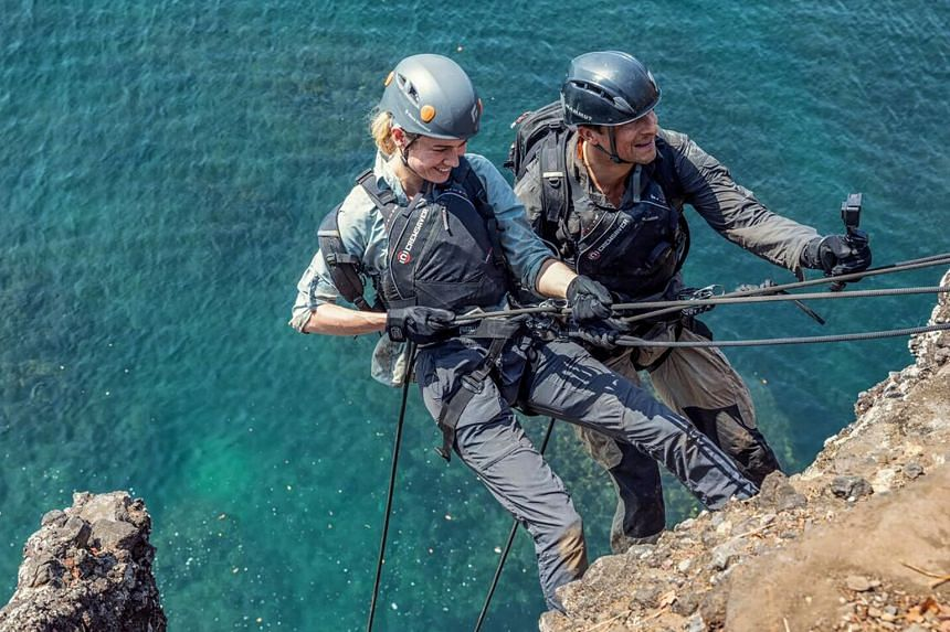 Running Wild With Bear Grylls features the host and stars such as Brie Larson (both above) taking on extreme outdoor adventure.