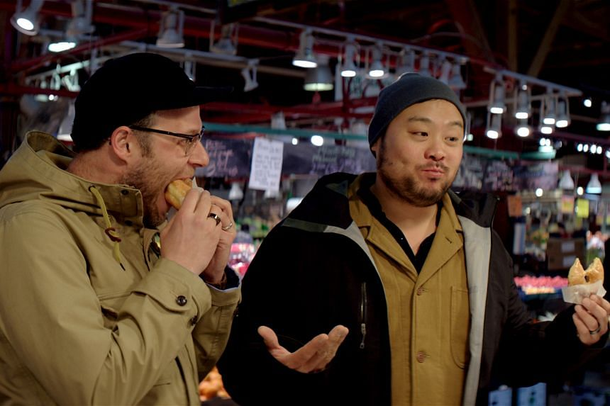 In Breakfast, Lunch & Dinner, chef David Chang (right) and his guests such as Seth Rogen (left) go on food tours.