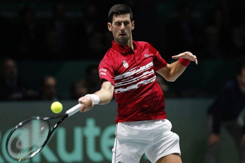 Serbian tennis player Novak Djokovic during the men's singles Group A match during the Davis Cup Finals at La Caja Magica on Nov 20, 2019.