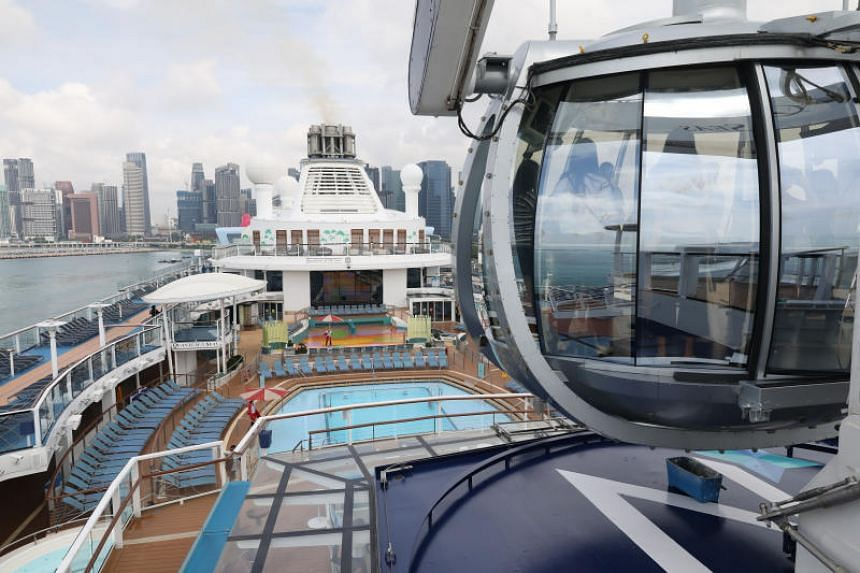 The North Star (right) is an observational capsule offering 360-degree views, on board Quantum of the Seas.