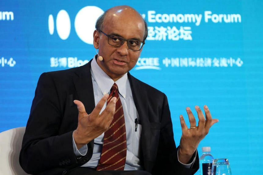 Senior Minister Tharman Shanmugaratnam speaking at the Bloomberg New Economy Forum in Beijing on Nov 21, 2019.
