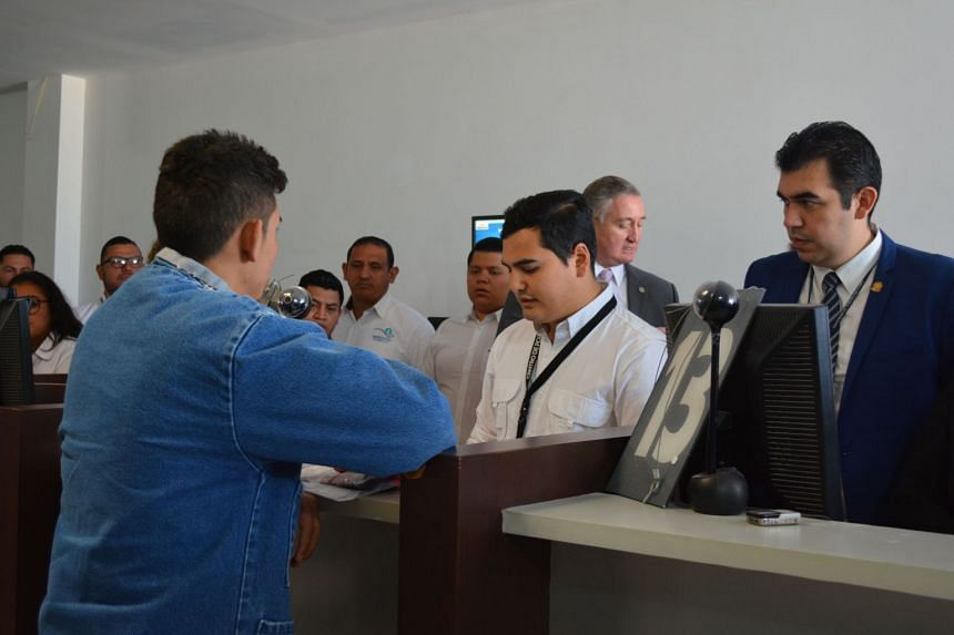 The first Central American citizen deported from the US goes through documentation procedures in Guatemala City, Nov 21, 2019.