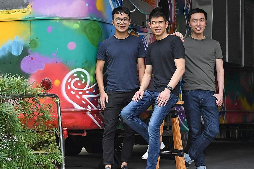 (From left) Mr Marcus Tan, Mr Quek Siu Rui and Mr Lucas Ngoo. The trio launched the Carousell app, a smartphone and web-based marketplace, in 2012. They were inspired by their year-long internships in Silicon Valley, in the United States. ST FILE PHO