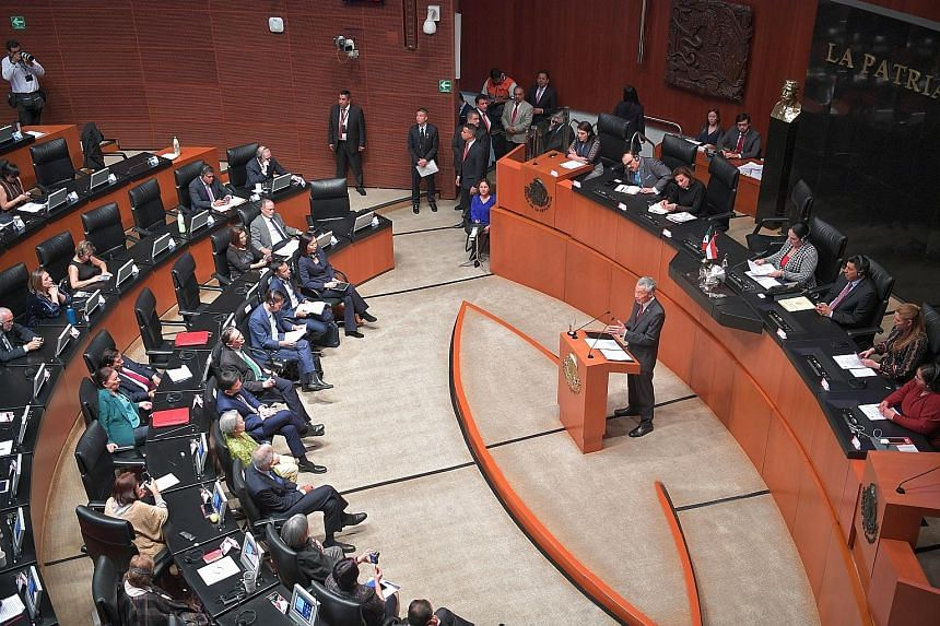 Prime Minister Lee Hsien Loong addressing the Mexican Senate on Wednesday. He is the first foreign head of government to do so since Mexican President Andres Manuel Lopez Obrador came to office last December. ST PHOTO: ARIFFIN JAMAR