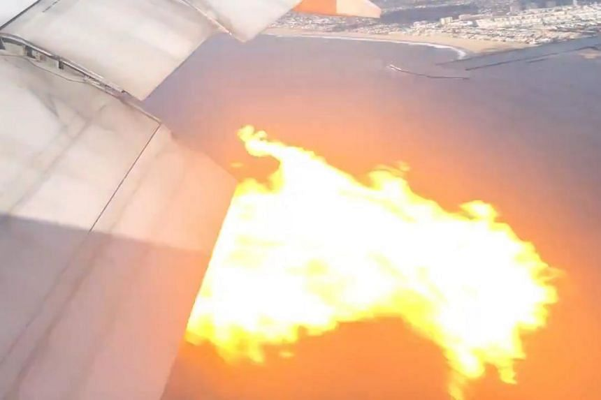 """A witness on the ground described """"bursts of flames"""" coming out of an engine."""