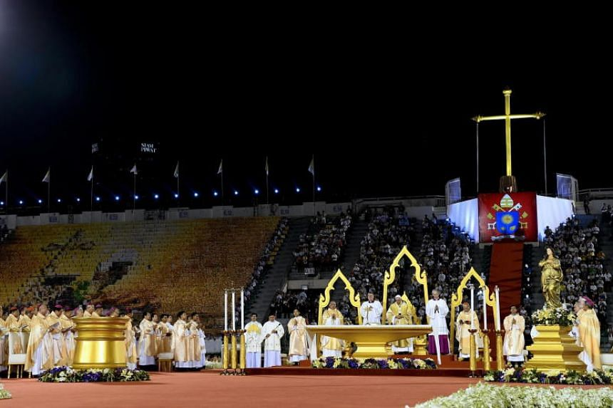 Pope Francis leads a Holy Mass at the National Stadium in Bangkok on Nov 21, 2019.